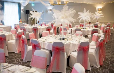 Coral and white themed wedding